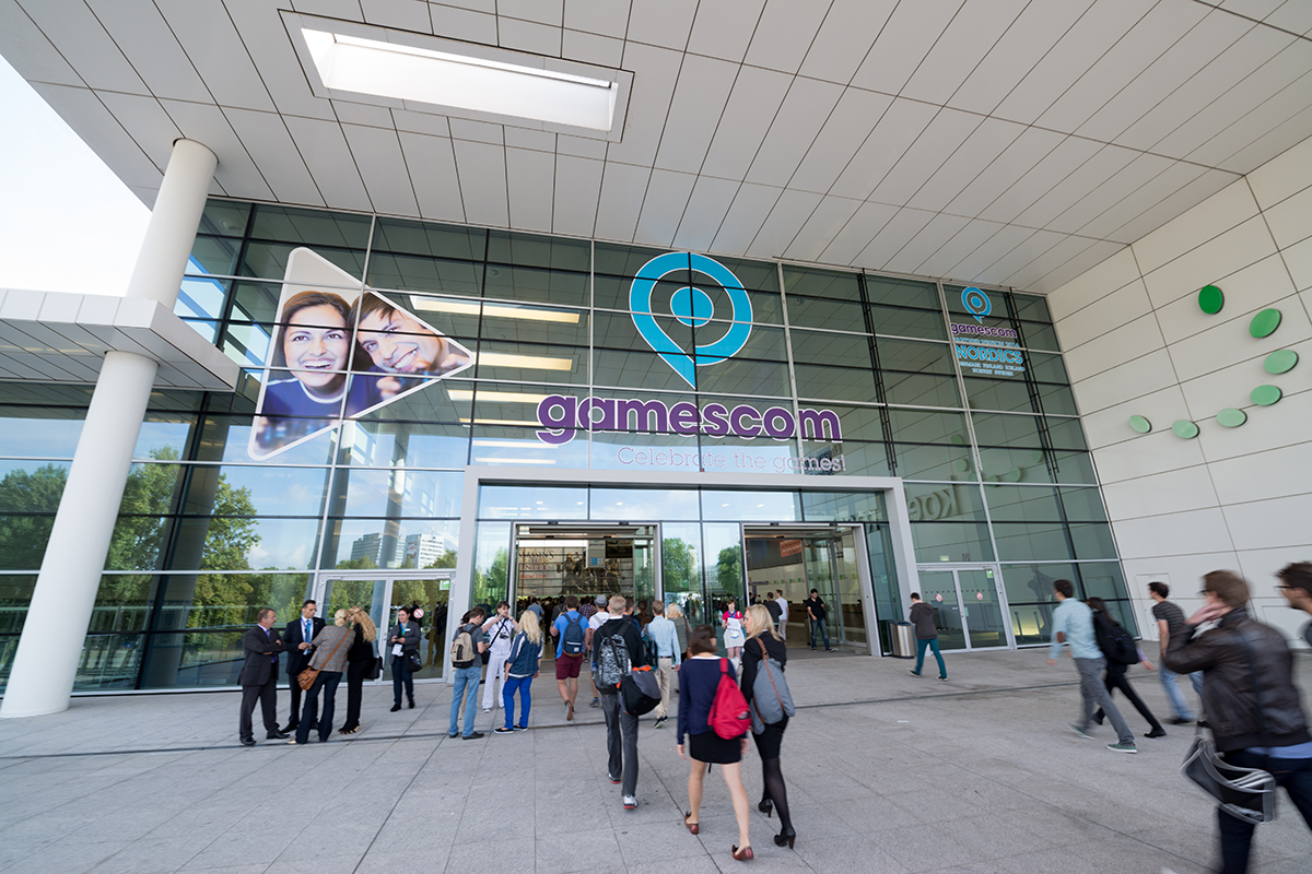 Cologne, Germany, August 13, 2014: Gamescon entrance. Gamescom is a trade fair for video games held annually at the Koelnmesse in Cologne